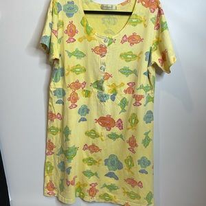 Fresh produce L vintage yellow fish dress cotton